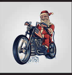 bikers santa claus merry christmas cooper riding vector image