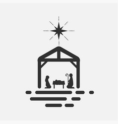 Birth christ silhouette mary joseph and vector