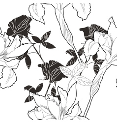 Black and white seamless pattern with flowers-10 vector image