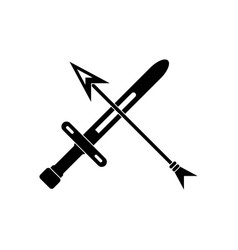 Black icon on white background sword and arrow vector