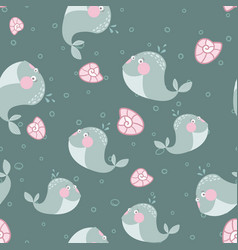 blue cartoon seamless pattern with cute whales vector image