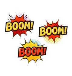 boom in pop art retro comic style cartoon slang vector image