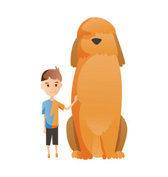 Boy with dog isolated on white background holding vector