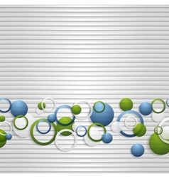Bright circles on the grey striped backdrop vector