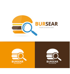 burger and loupe logo combination vector image