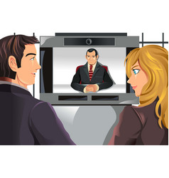 business people video conferencing vector image