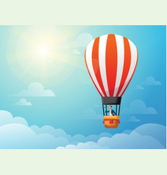 businessman in hot air balloon search to success vector image