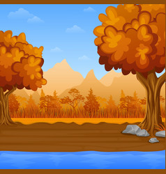cartoon autumn landscape with river and mountains vector image