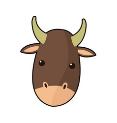 cartoon cute ox face animal manger character vector image