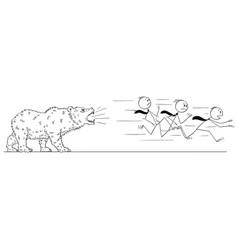 cartoon of businessmen running from the bear vector image