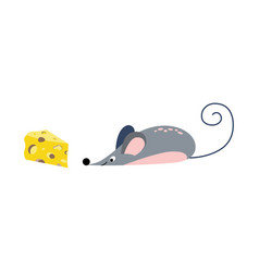 cute cartoon mouse looking for a piece cheese vector image