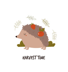 cute hedgehog with fruits on his back harvest vector image