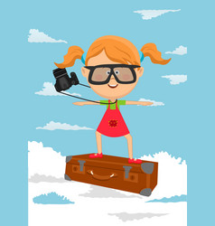 cute little girl flying on suitcase vector image