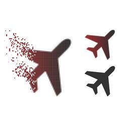Damaged pixel halftone plane icon vector