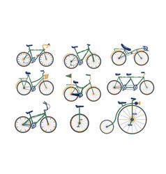 Different types bicycles set vector