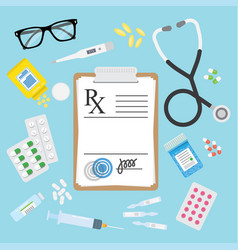 empty medical prescription rx form and pills vector image