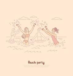 girls dancing in sea enjoying summer vacation vector image