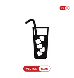 glass with ice icon vector image