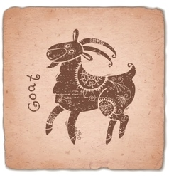 Goat Chinese Zodiac Sign Horoscope Vintage Card vector image