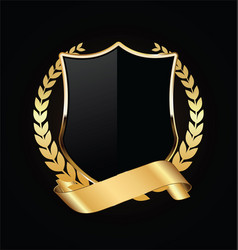 gold and black shield with gold laurels 06 vector image