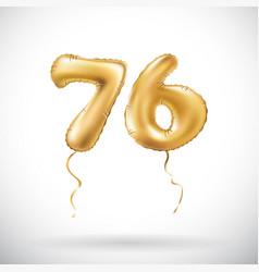Golden number 76 seventy six metallic balloon vector