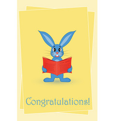 greeting card blue rabbit with a red book vector image