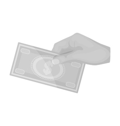 Hands giving money icon in monochrome style vector