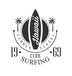 Hawaii surfing club summer school logo template vector