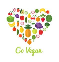 healthy food concept go vegan design heart shape vector image