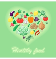 Healthy food concept heart shape vector image