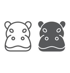 hippo line and glyph icon animal hippopotamus vector image