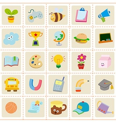 Kid stuff icons vector