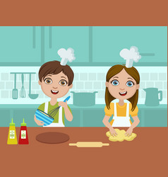 kids baking cookies cute boy and girl cooking in vector image