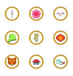 Korea symbols icons set cartoon style vector