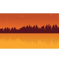 Landscape city and reflection silhouettes vector