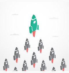 Leadership concept with rockets in isometric style vector