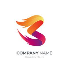 Letter b fire logo vector