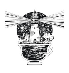 Lighghouse in coffee cup with ocean waves black vector