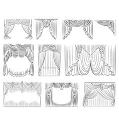 luxury curtains set outline thin lines vector image