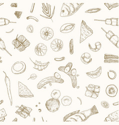 Malaysian food hand drawn seamless pattern vector