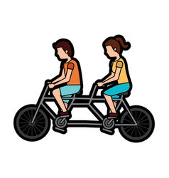 man and woman riding tandem bike icon image vector image