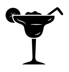 Margarita glyph icon footed glass with icy drink vector