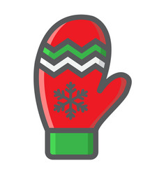 mitten filled outline icon new year and christmas vector image