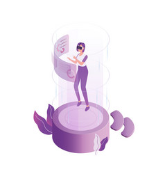 modern woman wearing 3d headset at virtual reality vector image