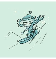 Monkey snowboarder vector