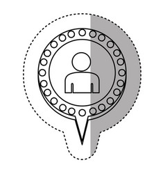 Monochrome sticker with half body man and circular vector
