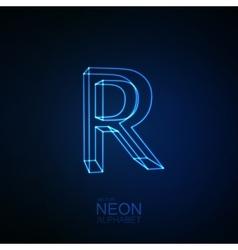 Neon 3D letter R vector