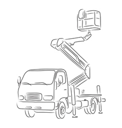 Outline of bucket truck vector image