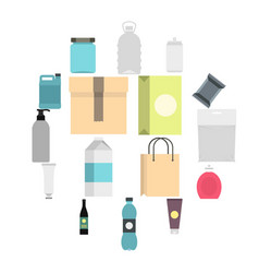 Packaging items set flat icons vector