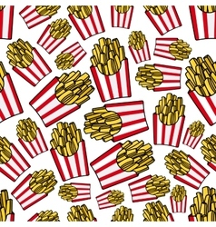 Paper boxes of french fries seamless pattern vector image